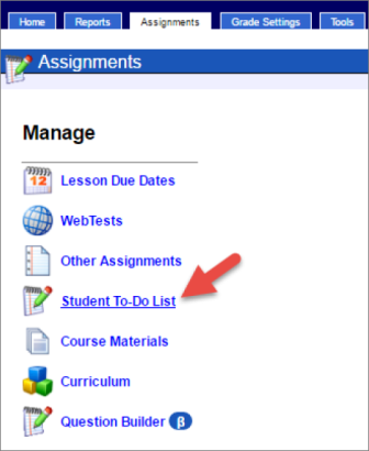 An arrow points to a link that says Student To-Do List.