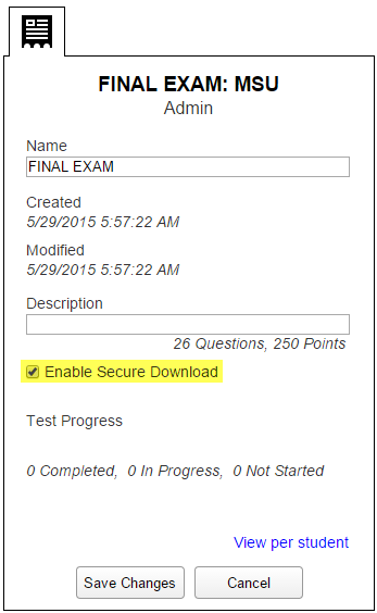 Enable TestGuard for your students' tests.