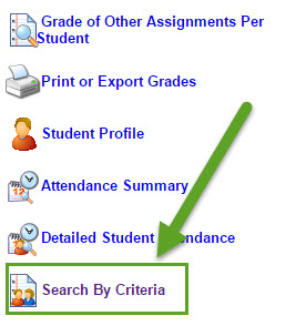 Search by Criteria is at the bottom left corner of the reports page underneath Detailed Student Attendance.