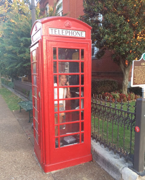 Phone booth in Oxford, Mississippi.