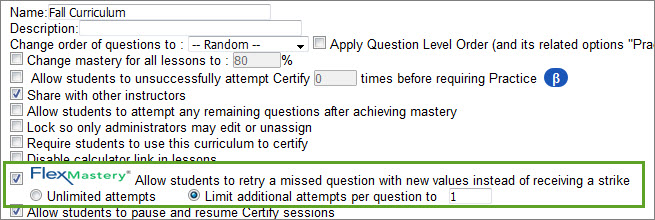 Use FlexMastery so students have an extra chance at a Certify question