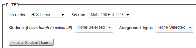 Filter scores by students, sections, assignment types, and instructors.