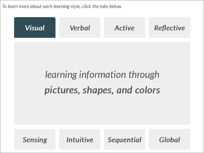 Different learning styles are explained.