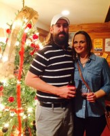 Liz and Ryan near the Christmas tree.