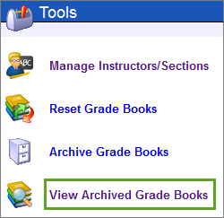Select the View Archived Grade Books link.