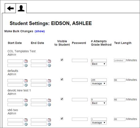 Select one student and make settings that will apply to them for different tests all on one page.