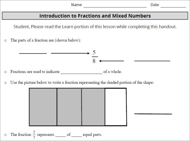 Part of an sample page from the guided notebook asks students to look at the parts of a fraction, use a picture to write a fraction represeting the shaded portion, and to answer how many equal parts the fraction 2/7 represents.