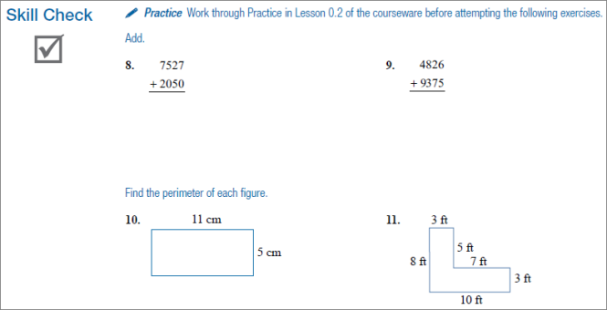 The workbook examples ask students to add large numbers and find the perimeters of two shapes to test their knowledge.