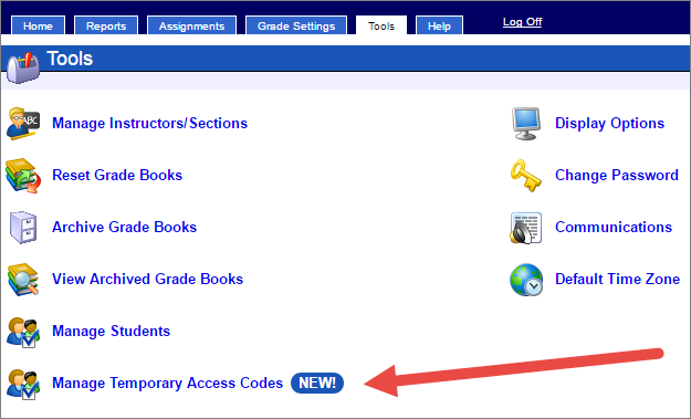 Instructors can enable student requested temporary access by navigating to the tools tab in the Grade Book and selecting Manage temporary access codes.