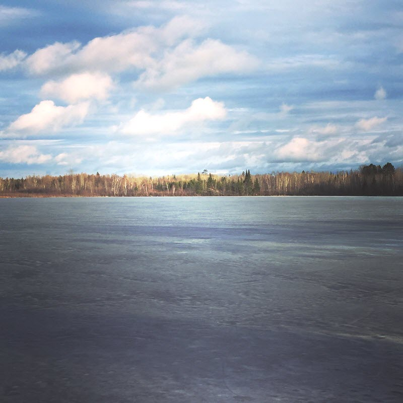 Frozen lake in Minnesota in front of a quiet wooded area.