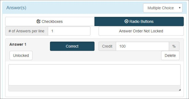 An answer box is shown for a multiple choice question. Two options, checkboxes or radio buttons, are above the options for the number of answers per line and locking the answer order.