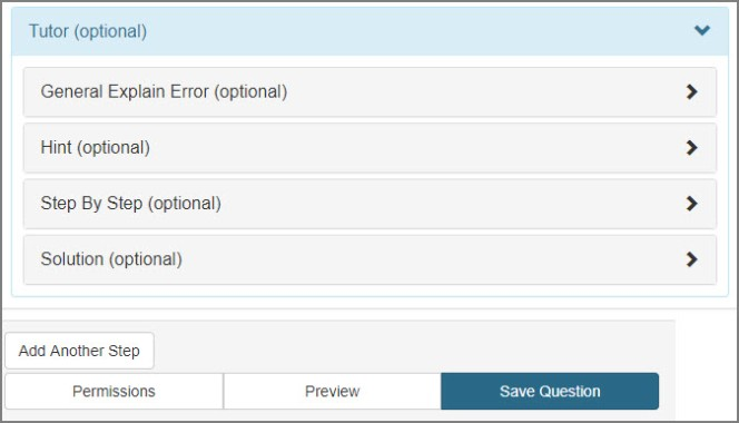 Tutor options are listed as buttons called General Explain Error, Hint, Step by Step, and Solution. All are optional.