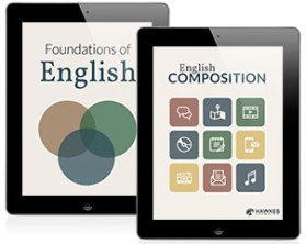 Two iPads are shown. One screen says Foundations of English, and the other screen says English Composition.