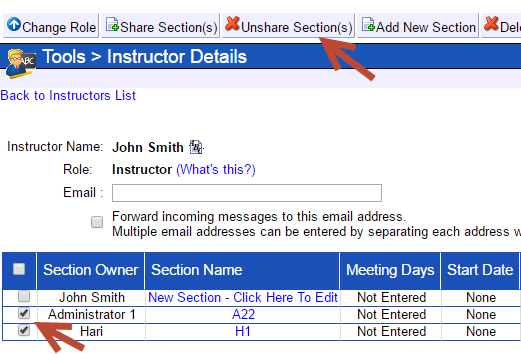 An arrow points at a button at the top called Unshare Sections. Another arrow points at a selected check box next to a section owner and section.