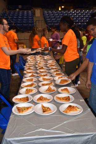 You can't have Pi Day without pizza pie! Pecan, apple, and peach pies were also served.