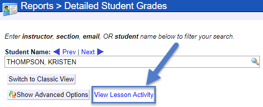 An arrow points to hyperlinked text that says View Lesson Activity.