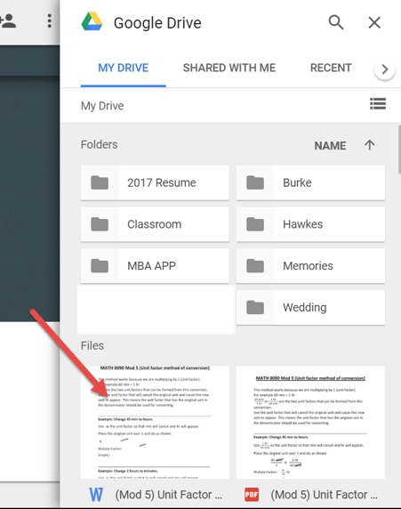 Within Google Drive's My Drive, an arrow points at a Word Document underneath the Files category.
