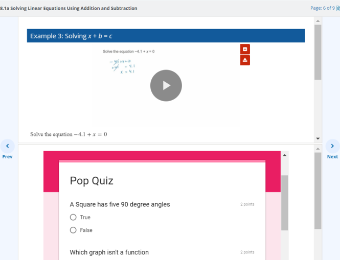 "The Hawkes Learn screen is shown with the lesson content at the top of the page and the embedded Google Form at the bottom. The embedded Google Form is called Pop Quiz and asks a true/false question of ""A square has five 90 degree angles."""