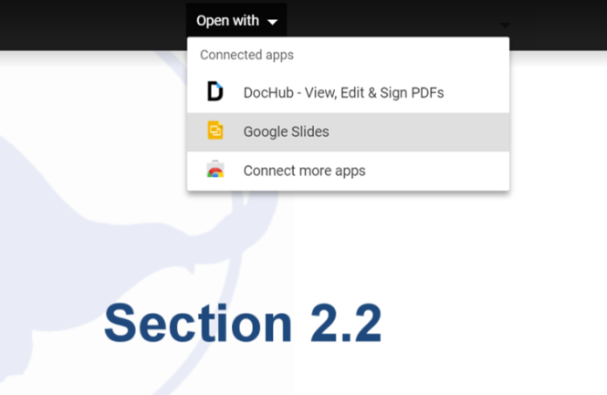 """A PowerPoint presentation is shown in Google Slides. The """"Open with"""" drop-down menu is displayed, with Google Slides highlighted."""