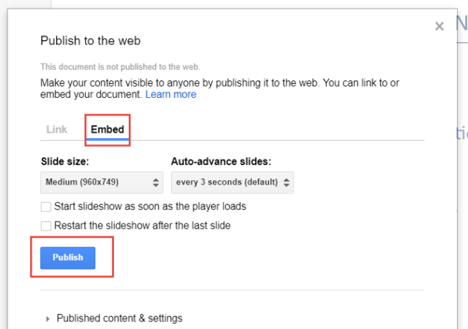 """A window titled """"Publish to the web"""" is shown. The Embed tab is chosen, and the Publish button is highlighted."""