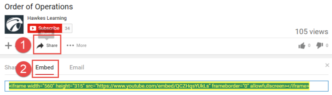 The number 1 is next to the Share button of a video in YouTube. The number 2 is next to the Embed button. Below that, the link to the video is highlighted.