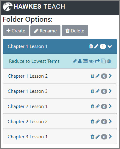 Question Folders are listed underneath the buttons to create, rename, or delete a folder.