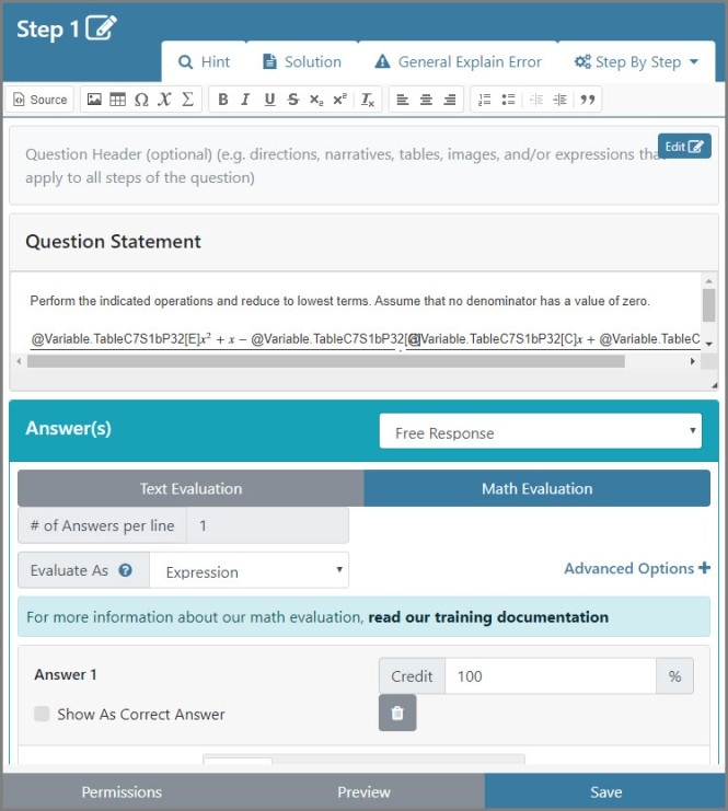 The interface of Question Builder when creating a question. It includes a Question Header, Question Statement, answers, and advanced options for answers.
