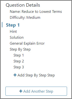 The Question Details sidebar shows the different steps per question, its name, difficulty level, and Tutor options.