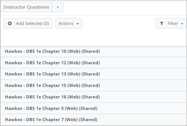 A list of questions for chapters is shown. They each are called