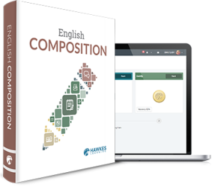 English Composition textbook cover. Student online dashboard within a laptop.