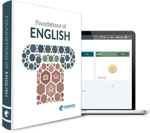 Foundations of English textbook cover. Student online dashboard within a laptop.